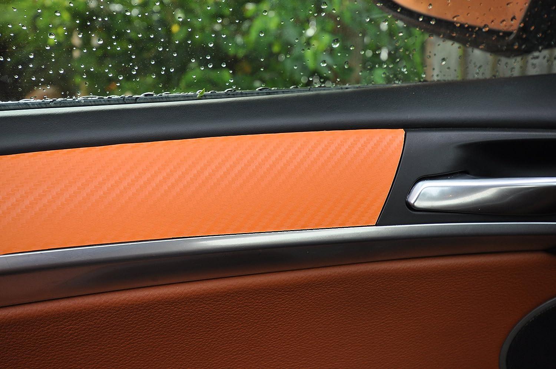 Carbon Orange Interieurleisten 3D Folien SET 100/µm stark T/ürleisten 12 tlg Mittelkonsole Aschenbecher