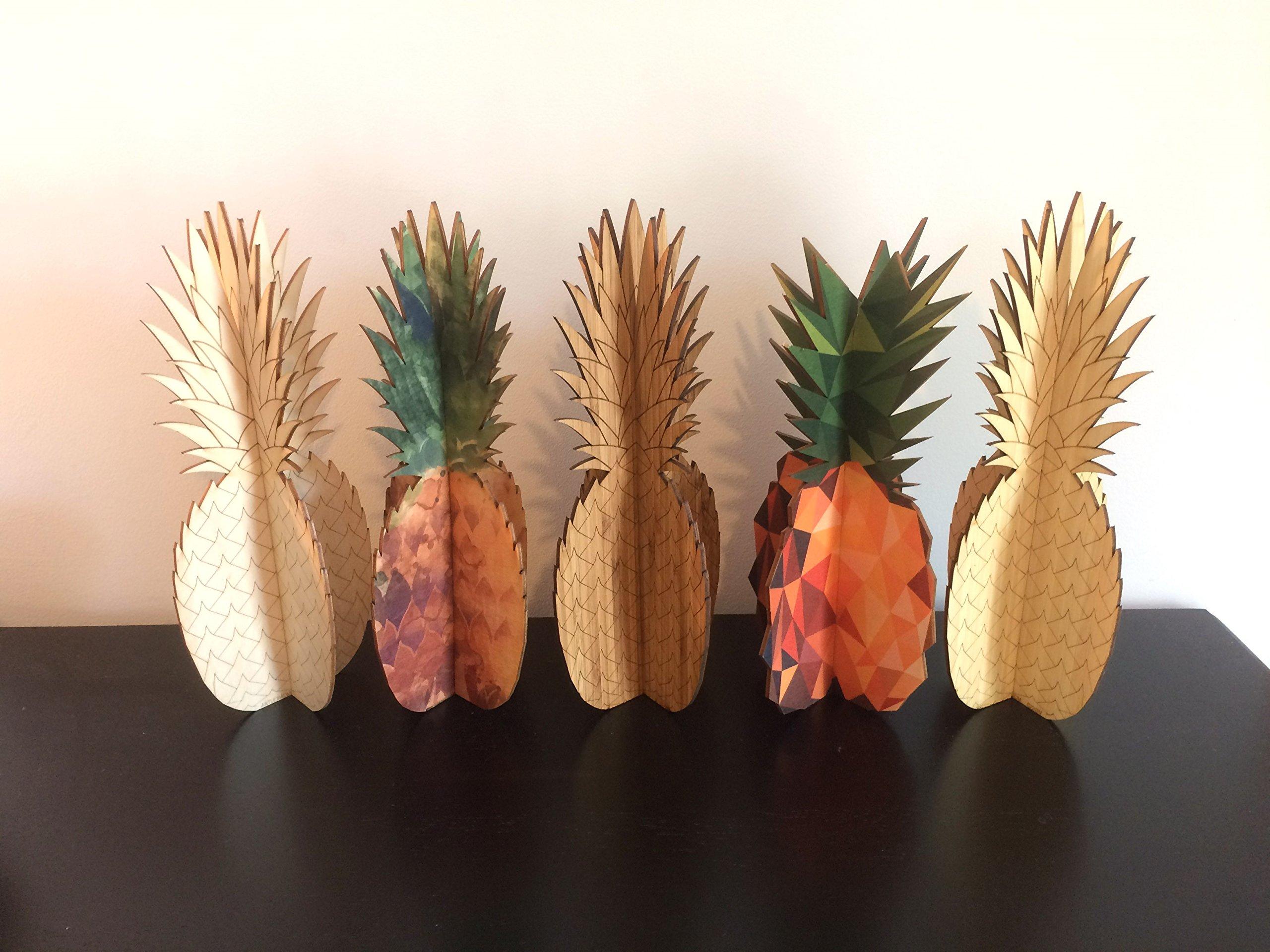 Cardboard Safari Wood Pineapple Home Decor Piece | Made in the USA (Watercolor Birch)