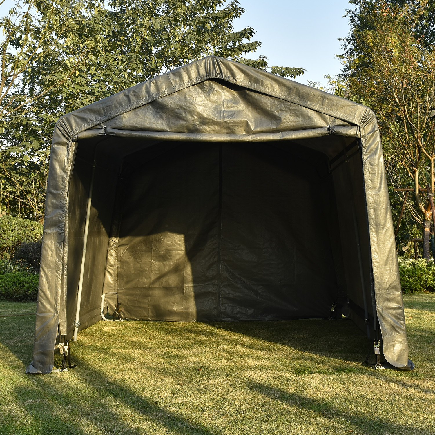 UHOM 10x10x8ft Portable Auto Shelter Instant Garage Storage Shed Canopy Carport Cover with Enclosure Kit Gray