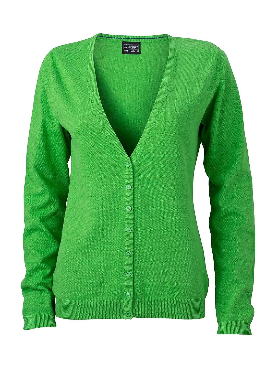 James & Nicholson– Chaqueta de Punto para Mujer, cárdigan con Cuello de Pico, Mujer, JN660, Grün (Green), 32 (Herstellergröße: XS)