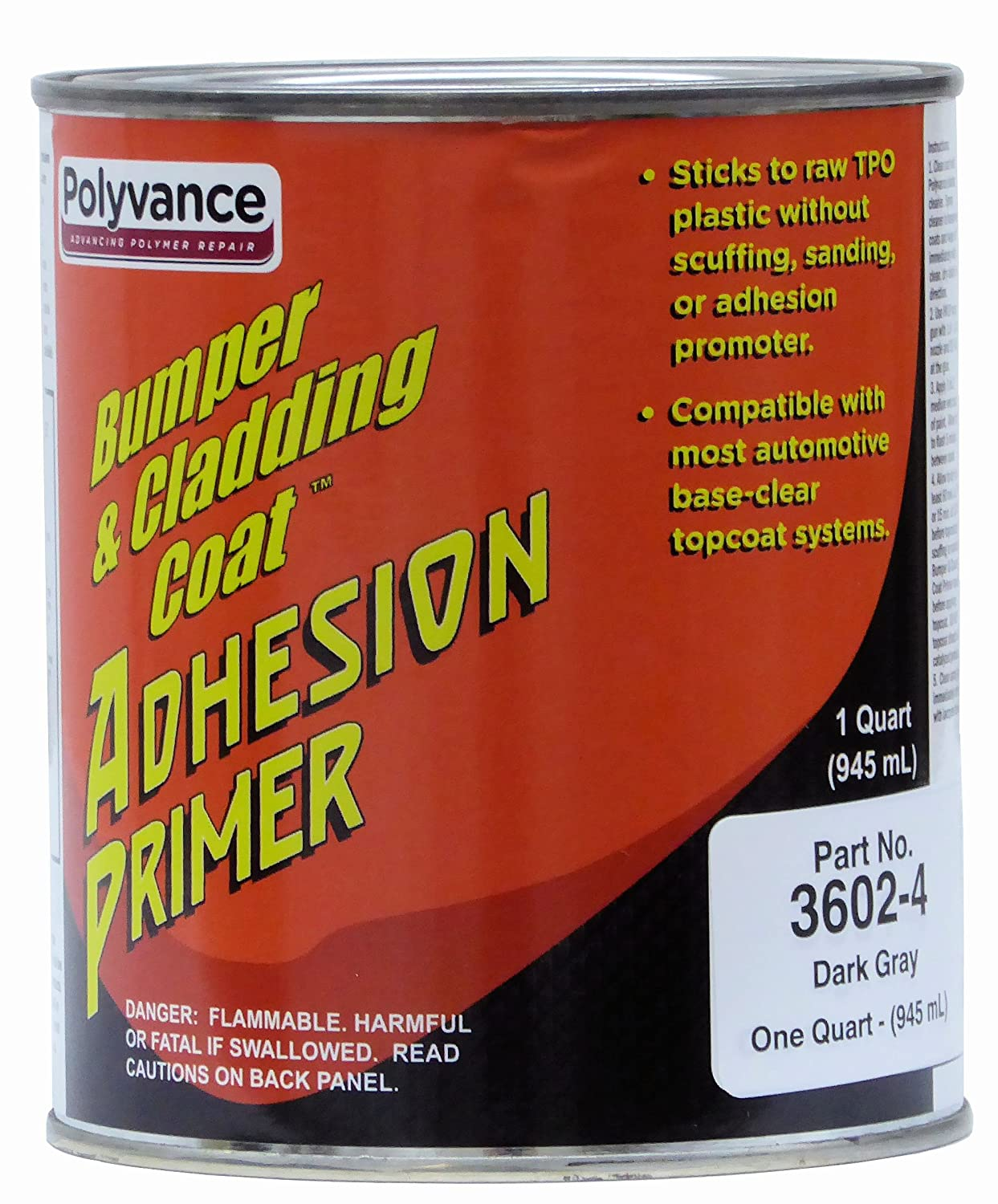 Bumper and Cladding Adhesion Coat Primer - Dark Gray, Qt Polyvance