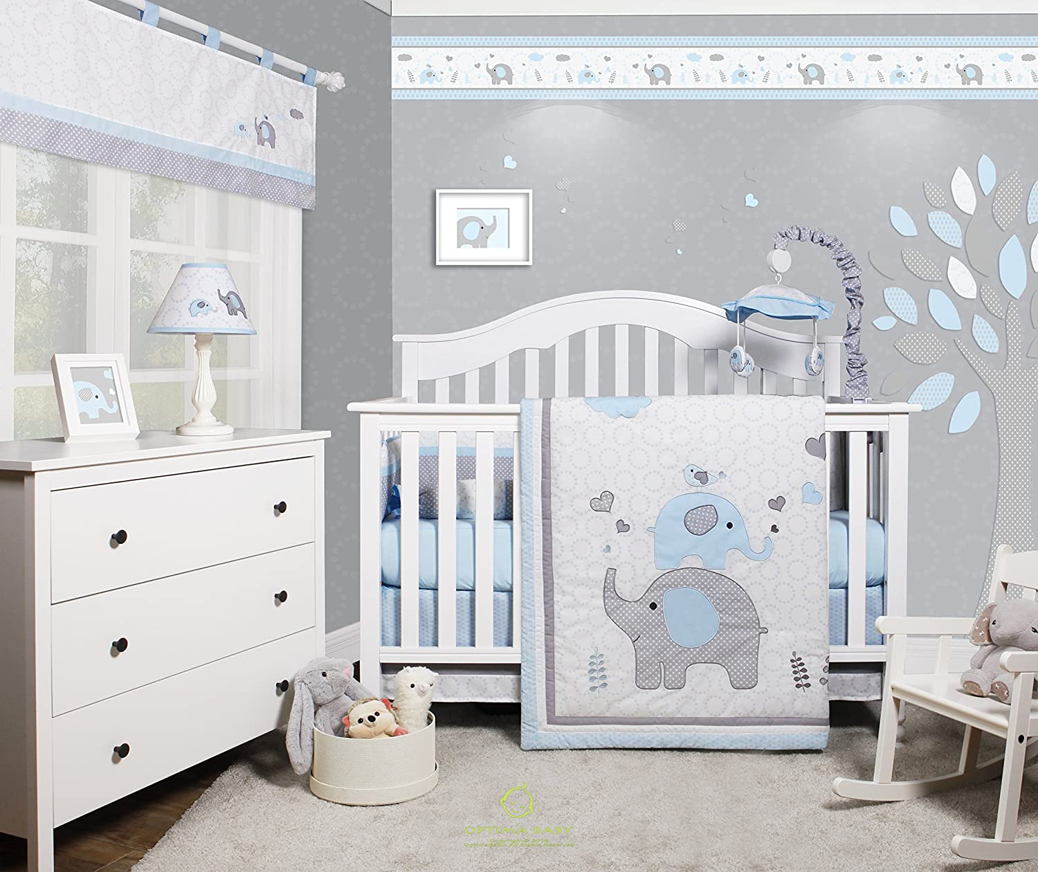 GEENNY OptimaBaby Blue Grey Elephant 27 Piece Baby Nursery Crib Bedding Set