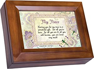 Cottage Garden My Niece Wonderful Gift Loved Very Much Woodgrain Digital Keepsake Music Box Plays My Wish