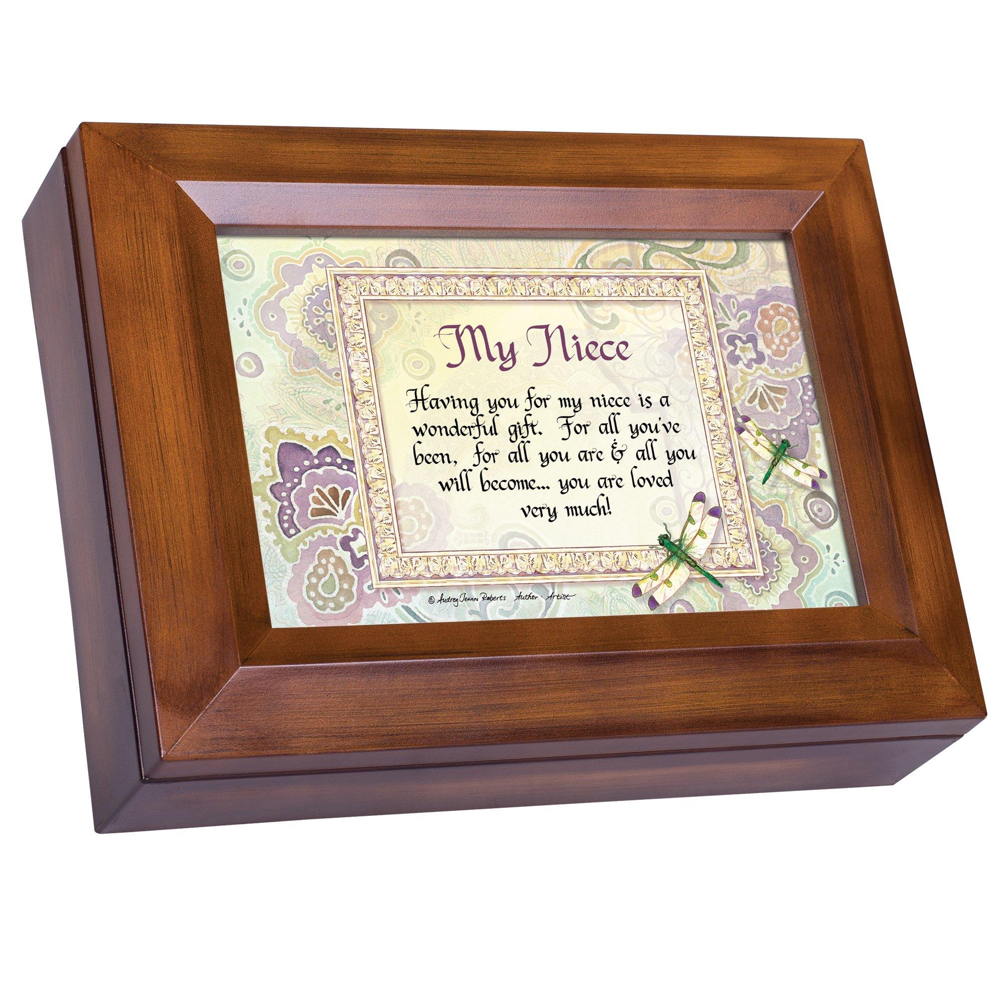 Cottage Garden My Niece Wonderful Gift Loved Very Much Woodgrain Digital Keepsake Music Box Plays My Wish