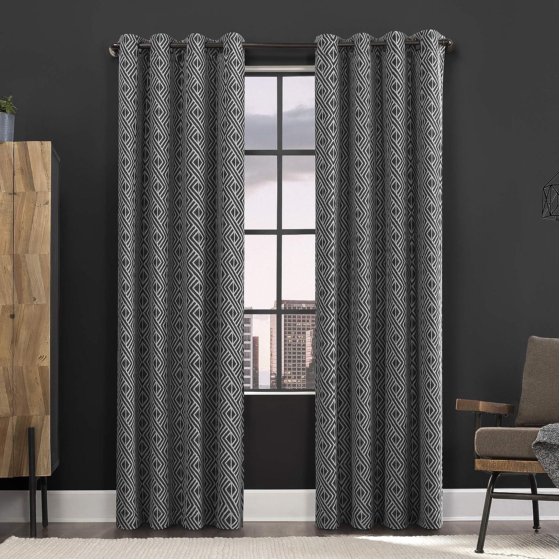 Amazon Com Scott Living Gresham Geometric 100 Blackout Grommet Curtain Panel 52 X 84 Black Home Kitchen