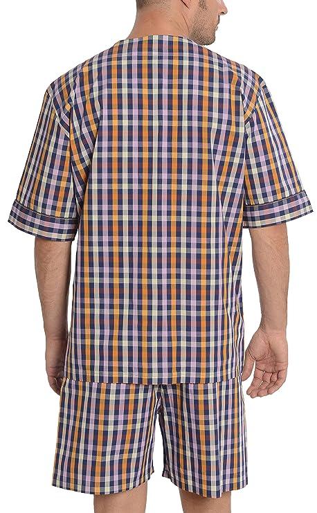 El Búho Nocturno Pijama de Caballero | Pijama de Hombre de Manga Corta Moderno a Cuadros | Ropa de Dormir para Hombre - Tela Popelín, 100% algodón - Color ...