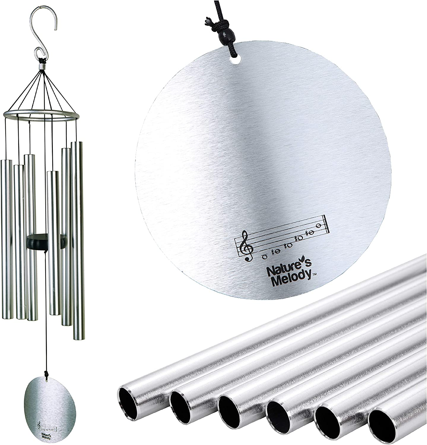 Nature's Melody Aureole Tunes Wind Chimes – Outdoor Windchime with 6 Tubes Tuned to B Pentatonic Scale, 100% Rustproof Aluminum, Powder Finish & S Hook Hanger for Sympathy, Memorial Gift or Zen Garden