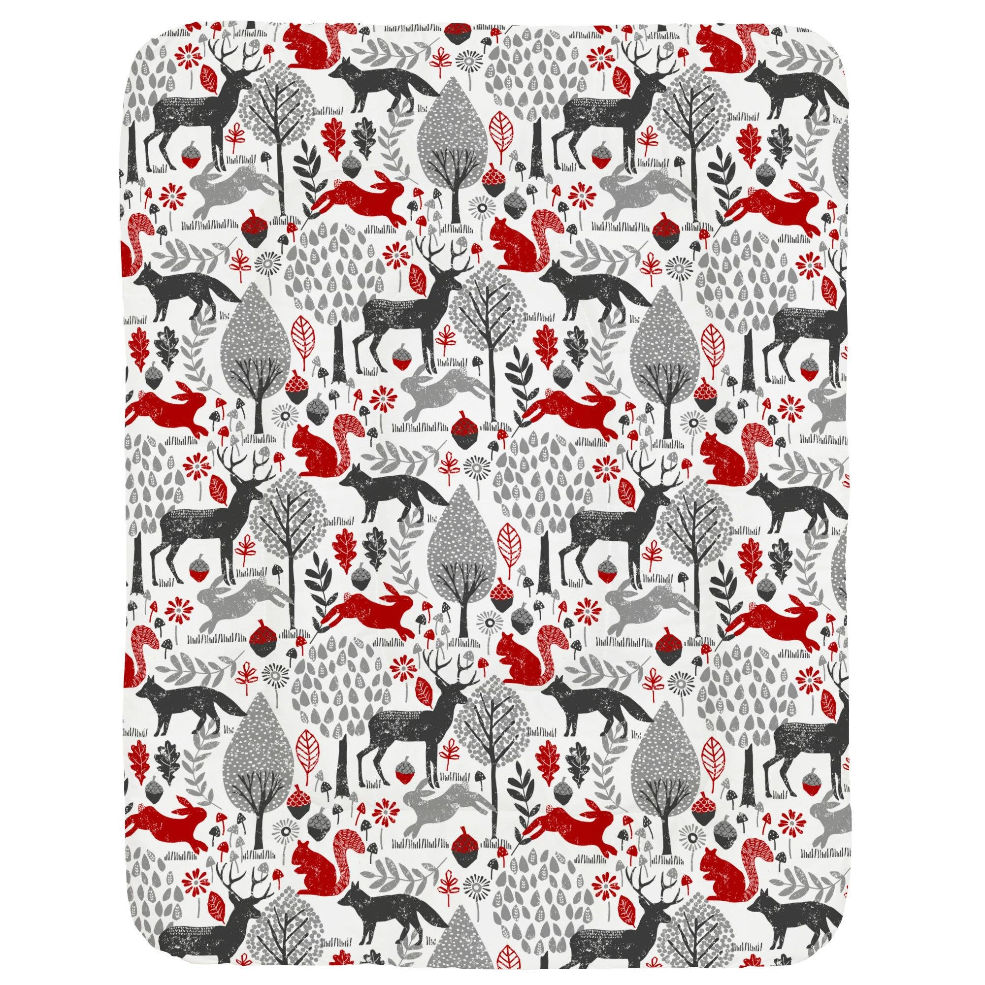 Carousel Designs Red and Gray Woodland Animals Crib Comforter