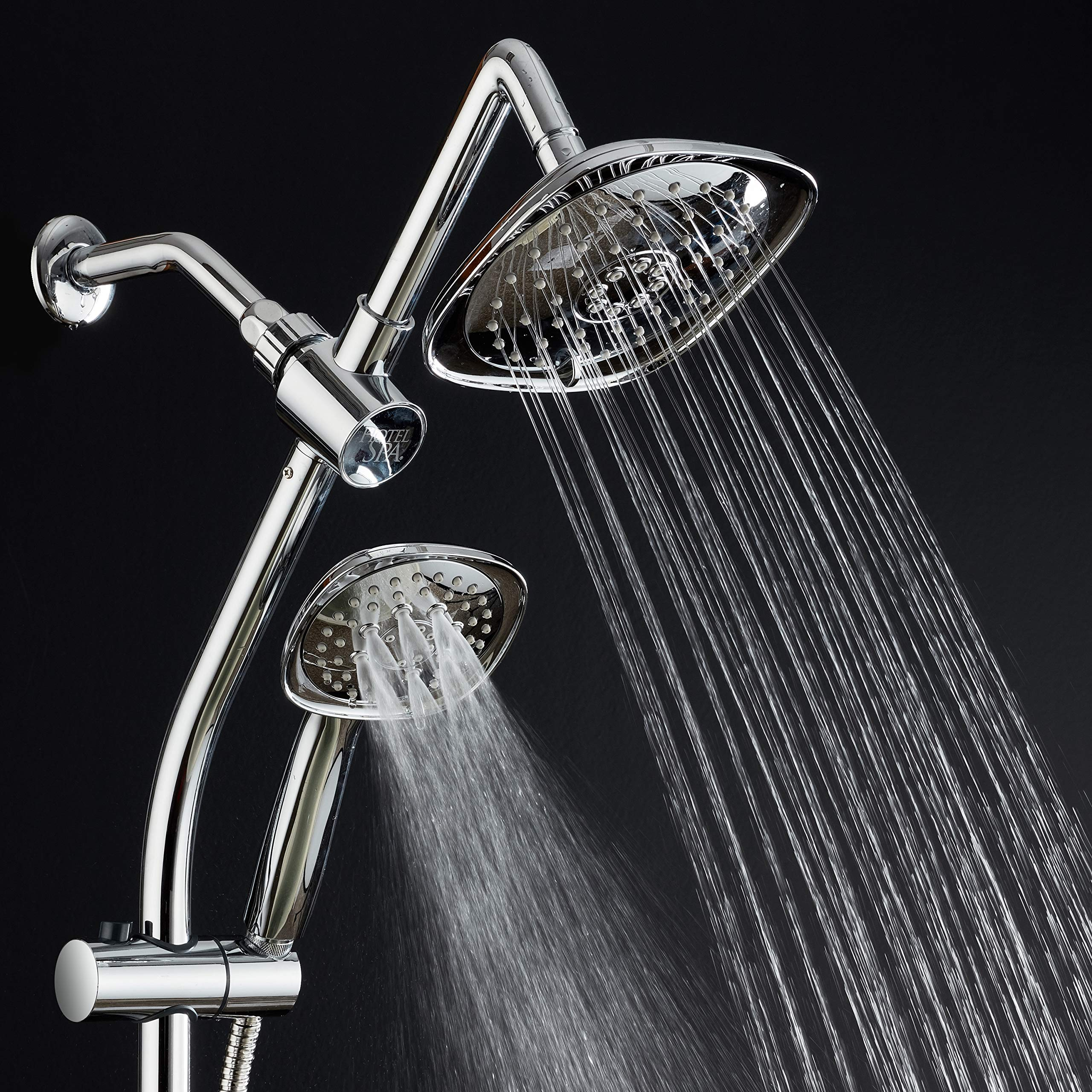 Spa Station 34'' Adjustable Drill-Free Slide Bar with 48-setting Showerhead Combo & Height Extension Arm / 3-way Square Rain & Handheld Shower Head/Low Reach Diverter/Stainless Steel Hose/Chrome by Hotel Spa (Image #2)