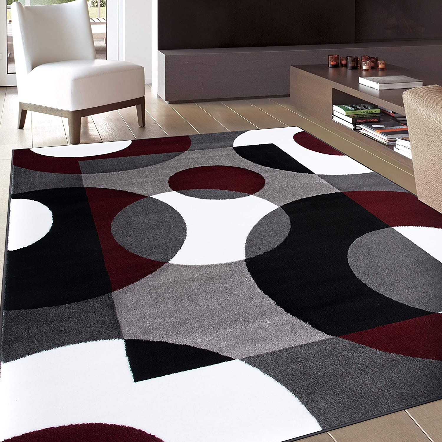 Modern Circles Burgundy Area Rug 7 10 X 10 2 Furniture Decor