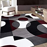 """Modern Circles Burgundy Area Rug 7' 10"""" X 10' 2"""""""