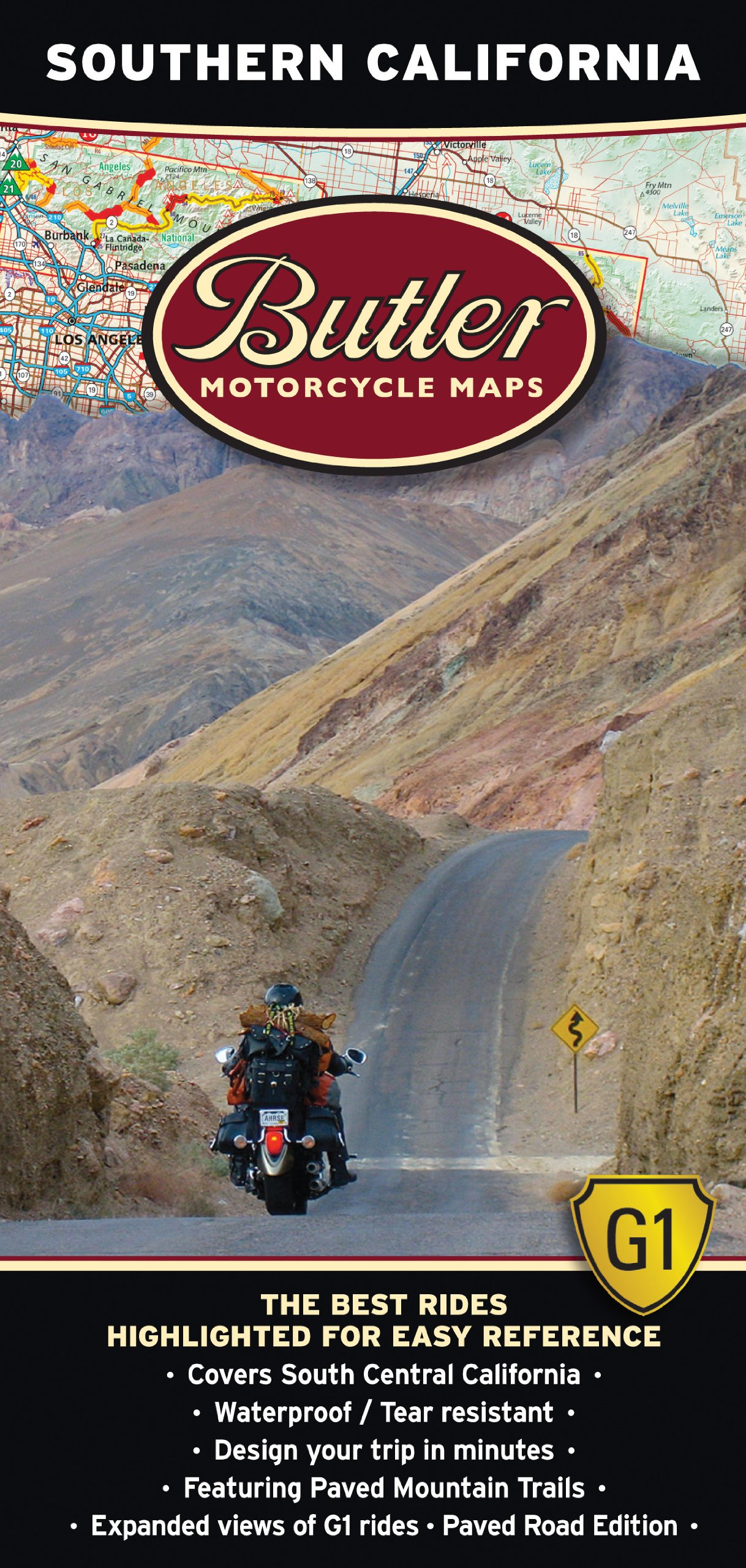 Butler Maps G1 Southern California Motorcycle Map,