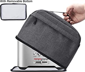 BGD-DG 2 Slice Toaster Cover with Removable Bottom 2-in-1 Toaster Bag with Zipper & Open Pockets Toaster Storage Bag with Handle, Dust and Fingerprint Protection, Machine Washable, Dark Gray