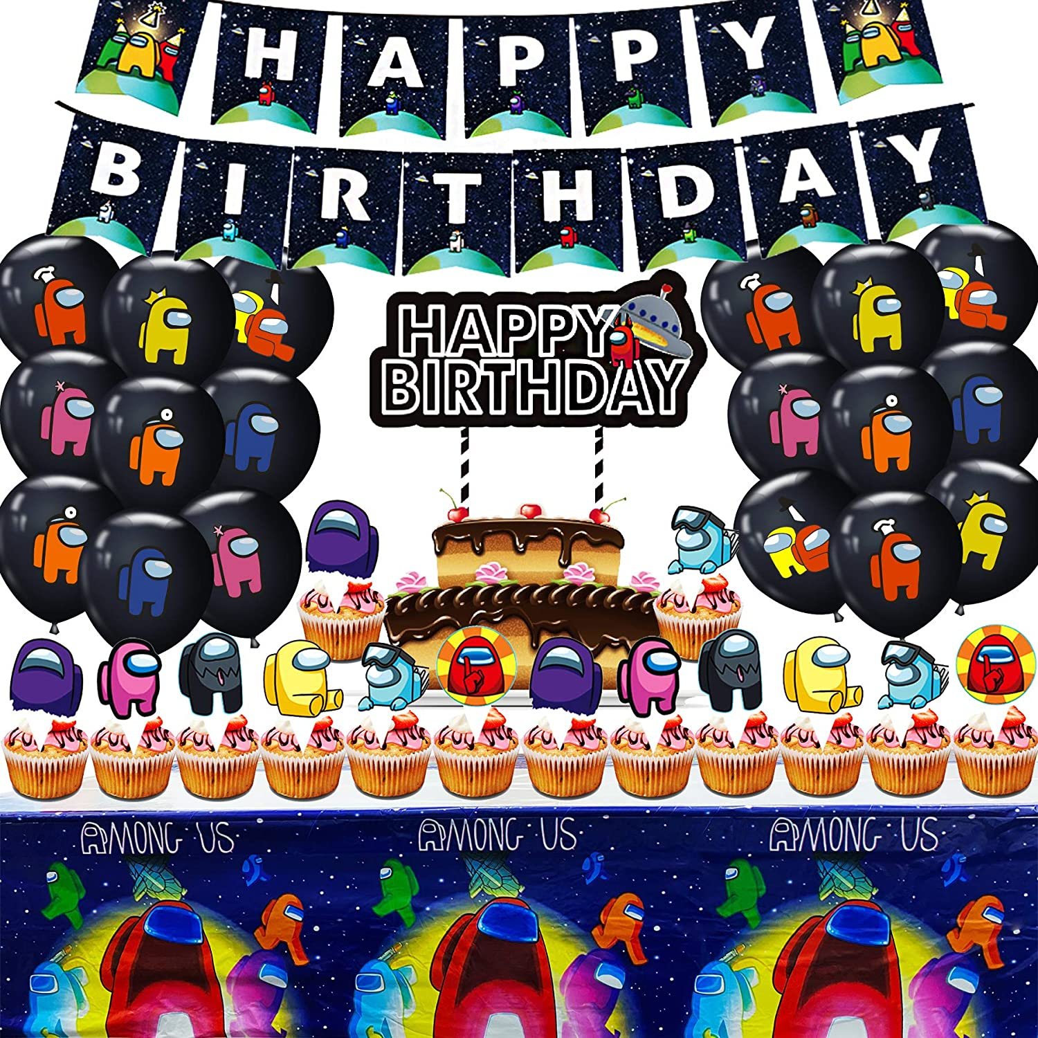 Banner and Balloons 30Pcs Among Us Birthday Party Decoration Set Cupcake Toppers Party favors for kids//Adults Set Supplies Include Among Us Happy Birthday Cake Topper
