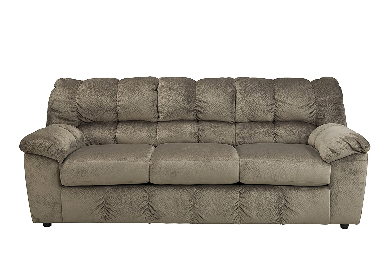 Ashley Furniture Signature Design - Julson Contemporary Sofa - 3 Seats - Puckered Stitching - Dune