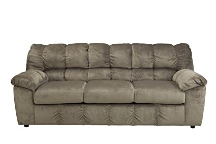 Ashley Furniture Signature Design   Julson Contemporary Sofa   3 Seats    Puckered Stitching   Dune