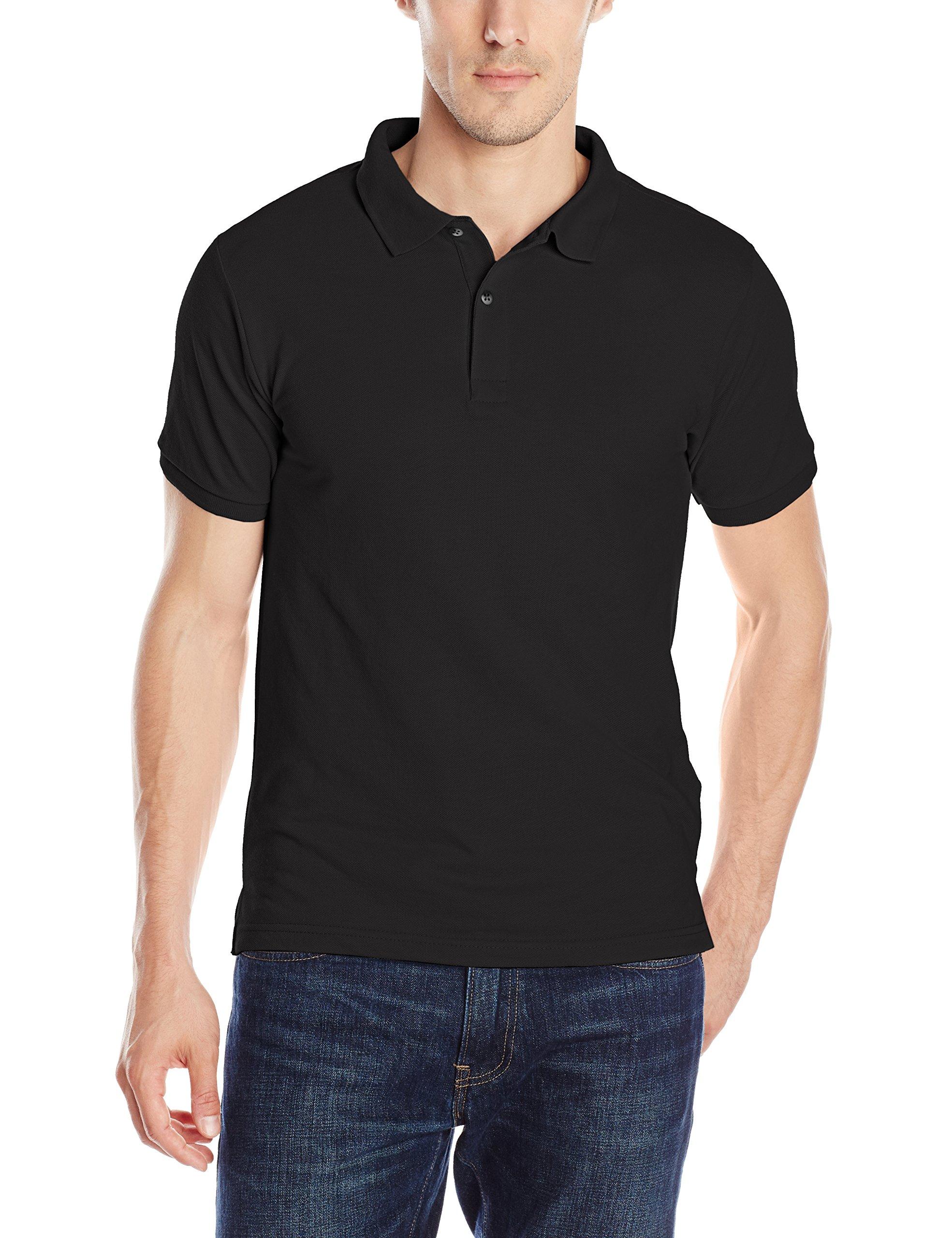 IZOD Uniform Young Men's Short Sleeve Pique Polo, Black, Small by IZOD