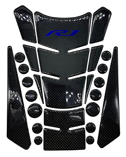 Beetle Shape Real Carbon Fiber 3D Red Sticker Vinyl Decal Emblem Protection Gas Tank Pad For Yamaha YZFR1 7cm R1 Logo)