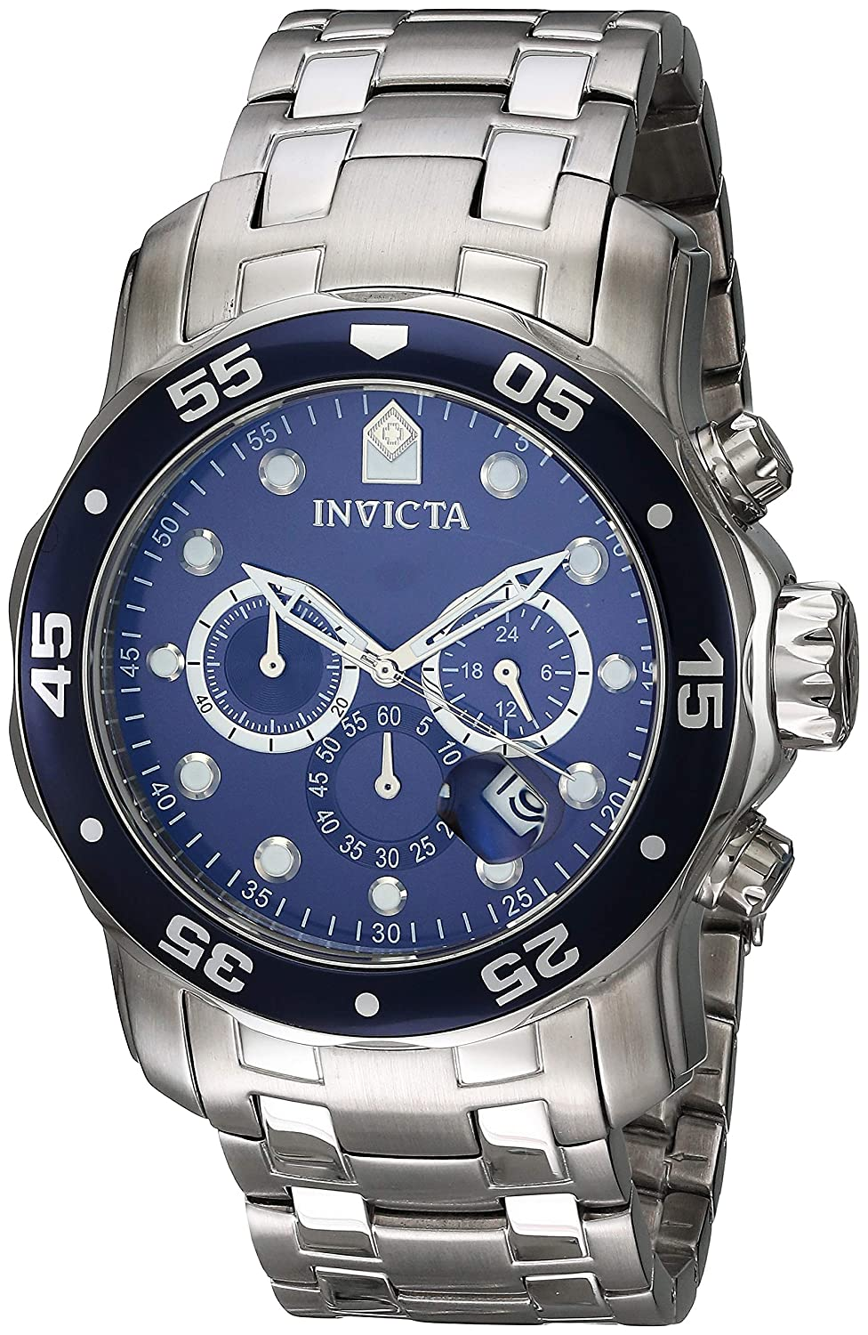 83d08744e6c Amazon.com  Invicta Men s 0070 Pro Diver Collection Analog Chinese Quartz  Chronograh Silver-Tone Blue Stainless Steel Watch  Invicta  Watches