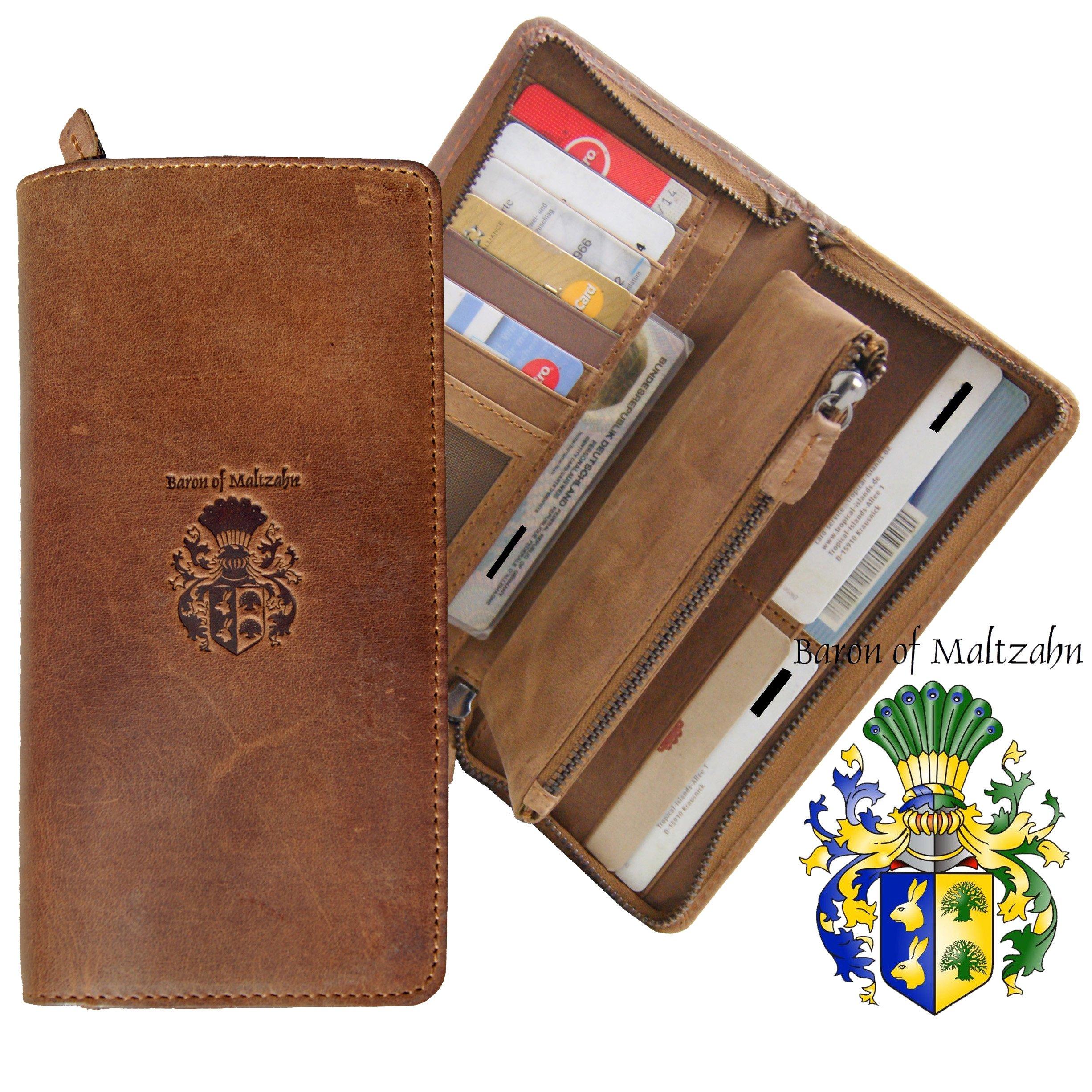 Men/'s wallet BARON of MALTZAHN Purse Portemonnaie GETTY brown leather