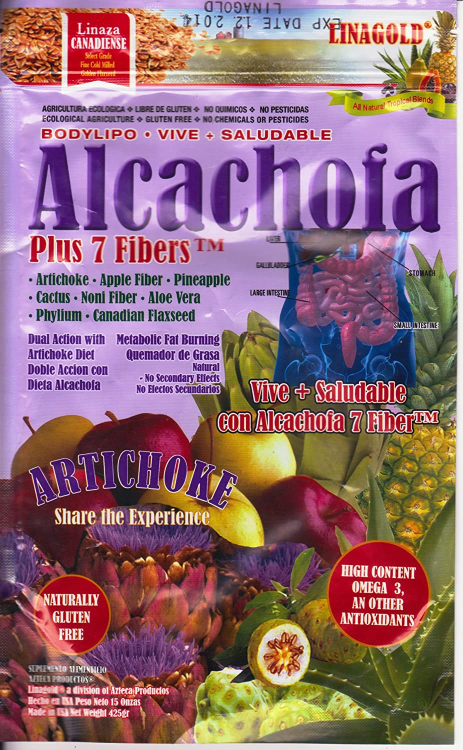 Amazon.com: Alcachofa Artichoke & Flaxseed Plus 7 Fibers Weight Loss Powder Blend (15oz): Health & Personal Care