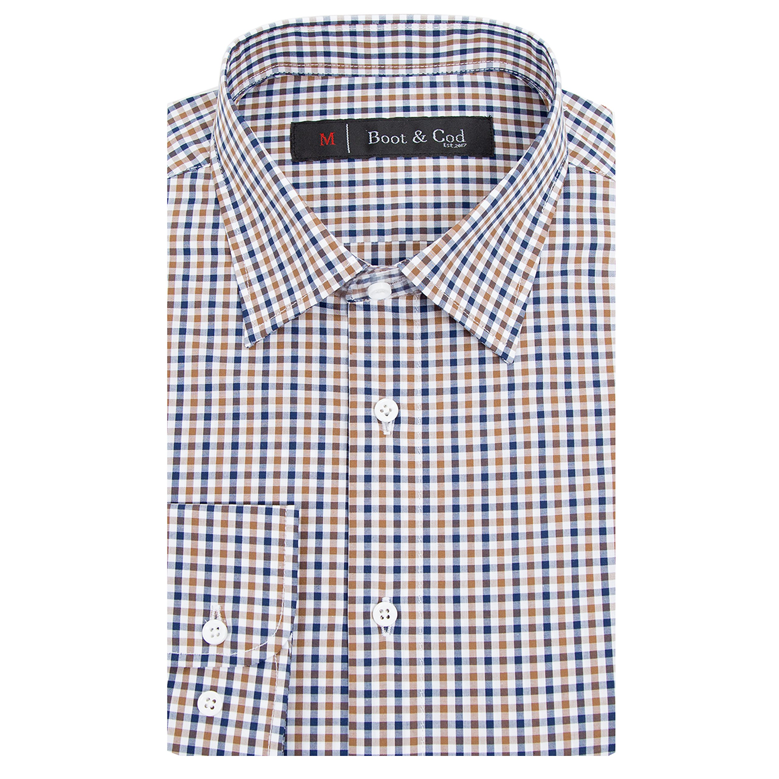 Boot & Cod Men's Blue Brown Gingham Fitted Long Sleeve Button Down Dress Shirt - S