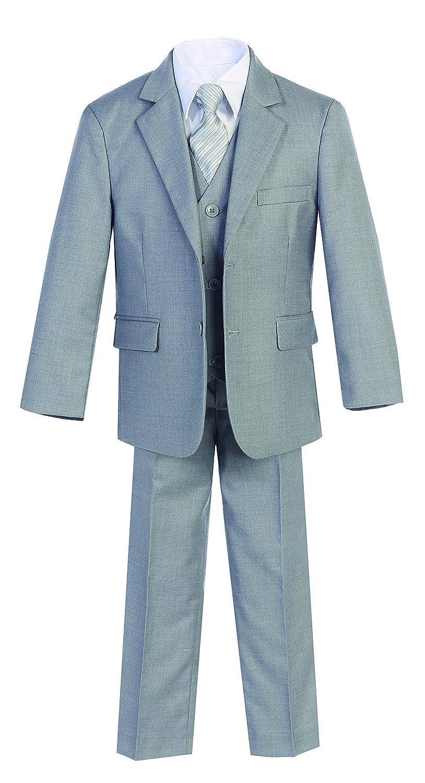 Magen Kids 5 PcS Boys Formal L Gray Suit, Vest, Pant, Dress Shirt, Tie Set Size 1-18 BS-US-MN-B6-L Gray