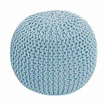 Homescapes Pastel Blue Knitted Pouffe Footstool Bean Filled 40 Fascinating Turquoise Knitted Pouf