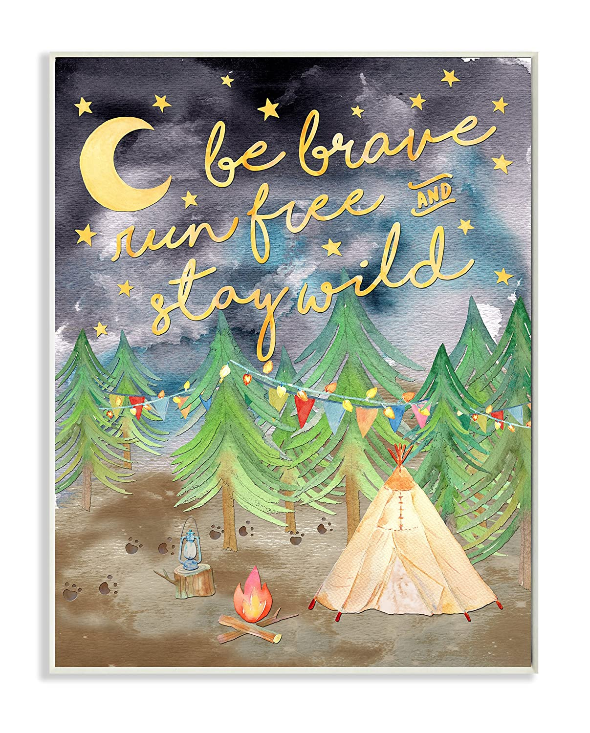 Stupell Home Décor Be Brave Camping Painting Wall Plaque Art, 10 x 0.5 x 15, Proudly Made in USA Stupell Industries brp-1816_wd_10x15