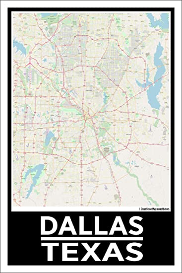 Amazon Com Spitzy S Dallas Texas 12 By 18 Inch City Map Poster