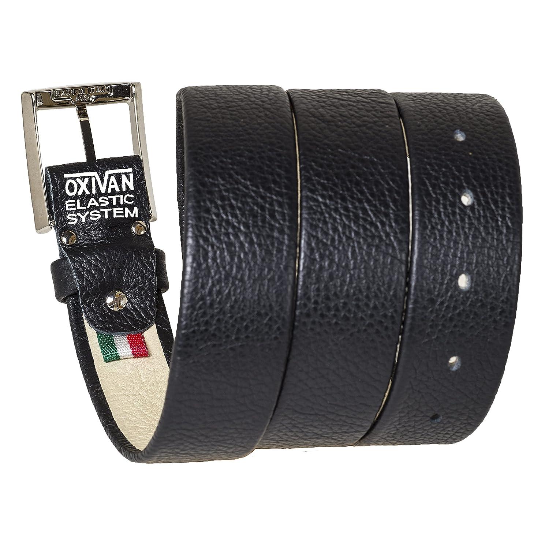 Cintura da uomo taglie forti con SISTEMA ELASTICO BREVETTATO in pelle nera made in italy 35 mm.