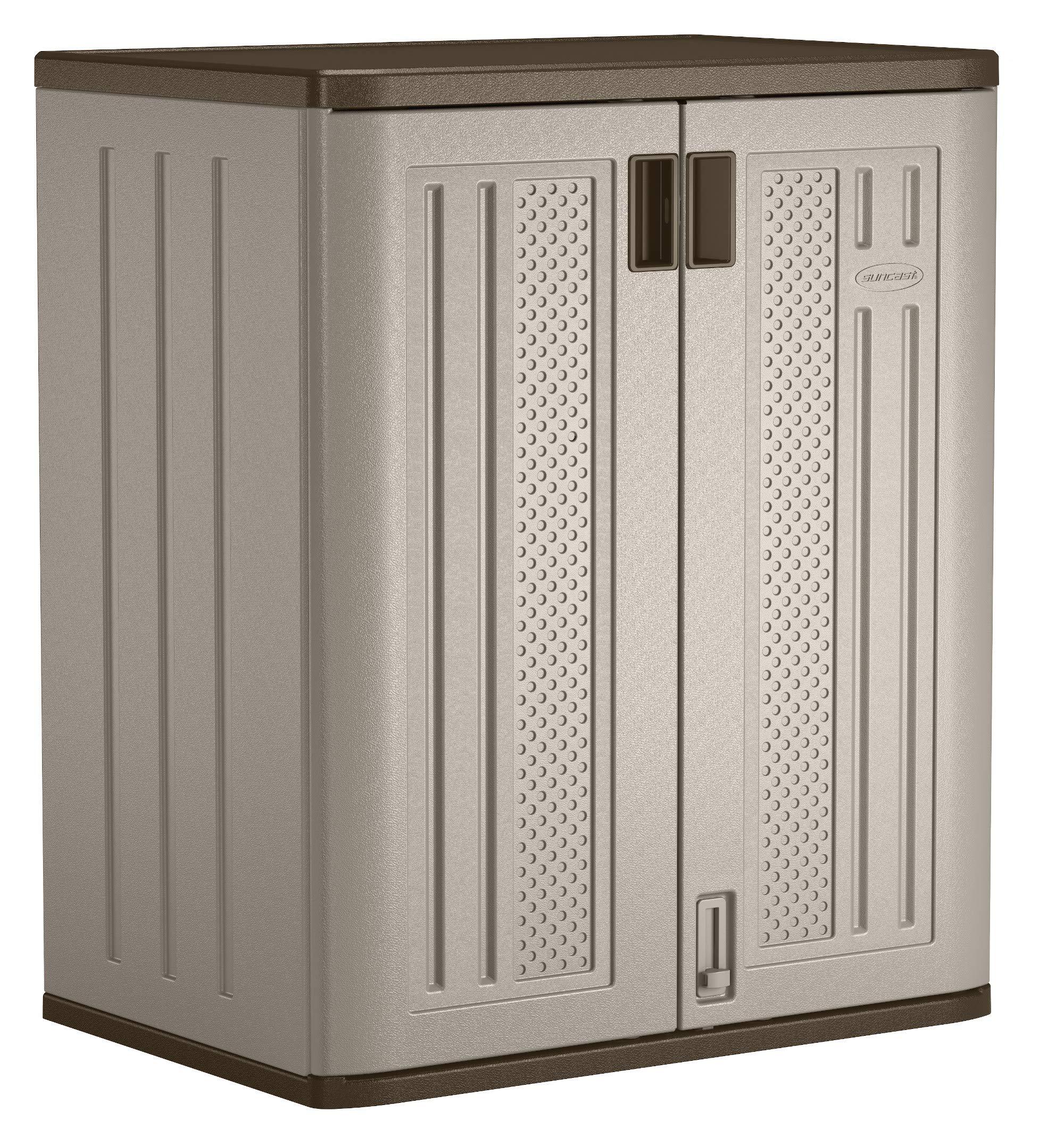"Suncast 36"" Resin Base Garage Storage Cabinet, Platinum"