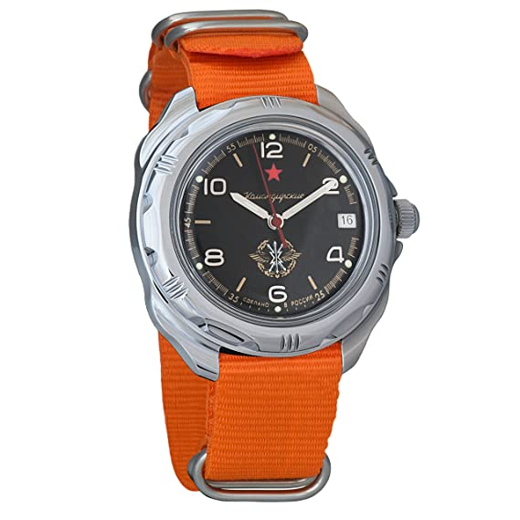 338d57778976 Vostok Komandirskie Russian Signal Corps Army Mechanical Mens Military  Commander Wrist Watch  211296 (Orange)  Amazon.ca  Watches
