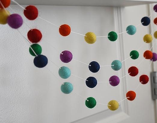 100% Wool Felt Ball Garlands | Pom Pom Garlands 11FT Long 40 Felt Balls (Rainbow)