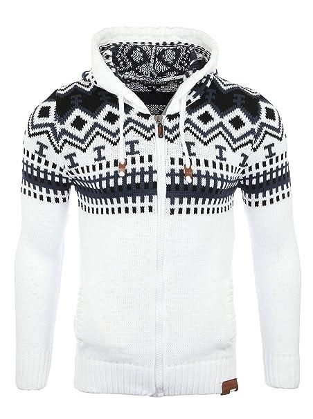 Reslad Jersey de punto para hombre noruego invierno de punto chaqueta sudadera con capucha RS-3104: Amazon.es: Ropa y accesorios