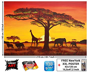 Cm Du De Photocoucher Safari Murale Afrique Sunset Peint Xxl Image By En Papier X Décoration Art210 Soleil African Great 43RqAL5j