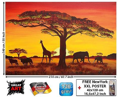 Mural Sunset In Africa Wallpaper Sunset Safari Animals Wall Picture Savannah Decoration Giraffe Buffalo Elefant Silhouettes Xxl Wallpaper