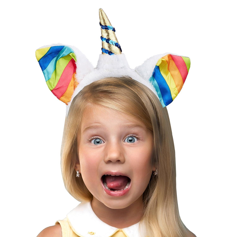 Relaxdays Haarreif Einhorn, Kopfschmuck Kinder mit Ohren & Horn, Regenbogen, Glitzer, HxBxT: 23 x 22 x 2,5 cm, weiß/bunt weiß/bunt 10021455