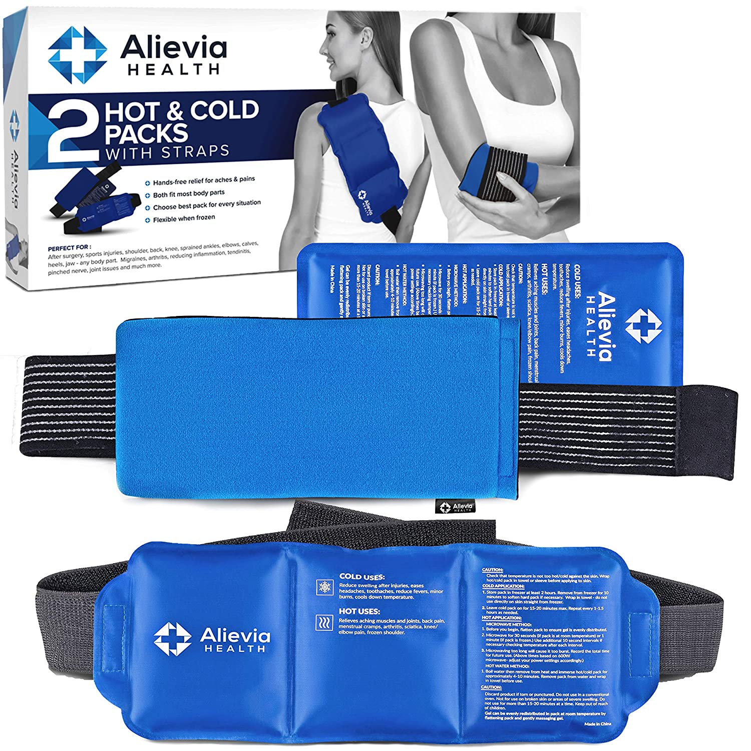 """Ice Packs for Injuries Reusable (Includes 2 Different Packs) Hot & Cold Gel Wraps by Alievia Health, 14""""x6"""" & 11""""x5"""" - Pack for Knee, Back, Shoulder, Elbow, Ankle, Neck- Heat Therapy for Pain, Large"""
