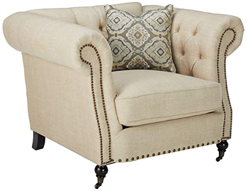 Coaster Home Furnishings Trivellato Upholstered Chair with Large Rolled Arms and Nailheads Oatmeal