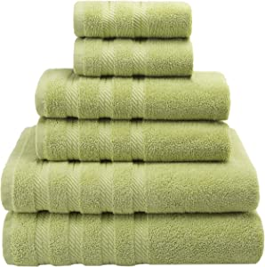 American Soft Linen Premium, Luxury Hotel & Spa Quality, 6 Piece Kitchen and Bathroom Turkish Towel Set, Cotton for Maximum Softness and Absorbency, [Worth $72.95] Pistachio Green