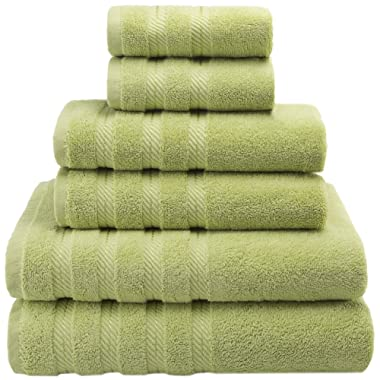 American Soft Linen Premium, Luxury Hotel & Spa Quality, 6 Piece Kitchen & Bathroom Turkish Towel Set, Cotton for Maximum Softness & Absorbency, [Worth $72.95] (Pistachio Green)