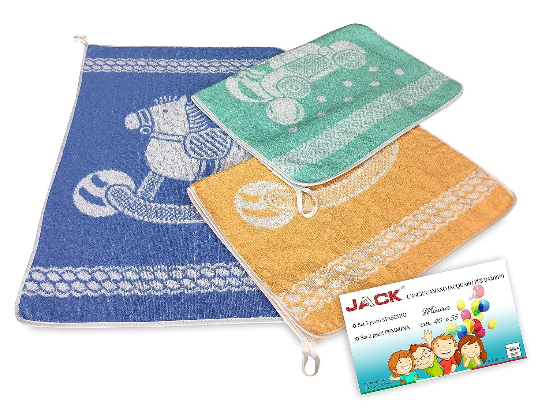 JACK Juego de 3 toallas de beb/é para guarder/ía 40 x 55 puro algod/ón macho.