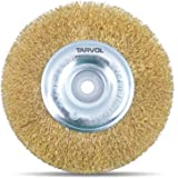"Circular Wire Wheel Brush (HEAVY DUTY INDUSTRIAL GRADE) 6"" x 5/8 Inch Arbor Hole - High Carbon Crimped Wire - Ideal for Bench & Pedestal Grinders - Perfect for Removing Rust & Polishing Metals"
