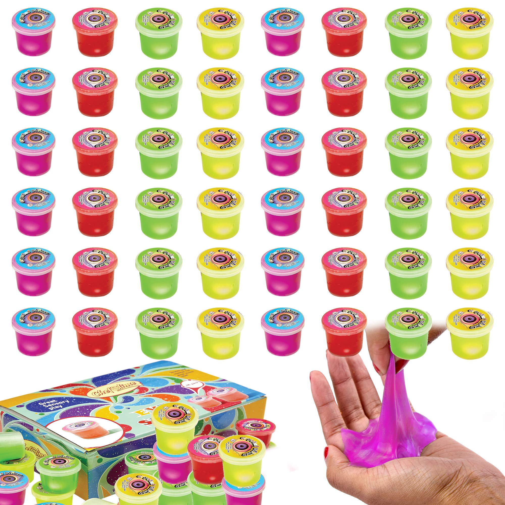 ChefSlime Eye Slime Cool Putty - Non Sticky, Stress & Anxiety Relief, Wet, Super Soft Sludge Toy with an Eye Ball inside - party favor for Kids and Adults - | JUMBO PACK of 48 PCS by ChefSlime