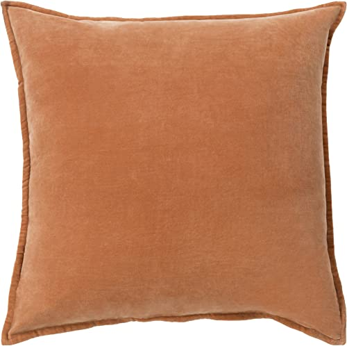 Surya Moody Pillow Cover With Down Fill, 22 22 , Rust