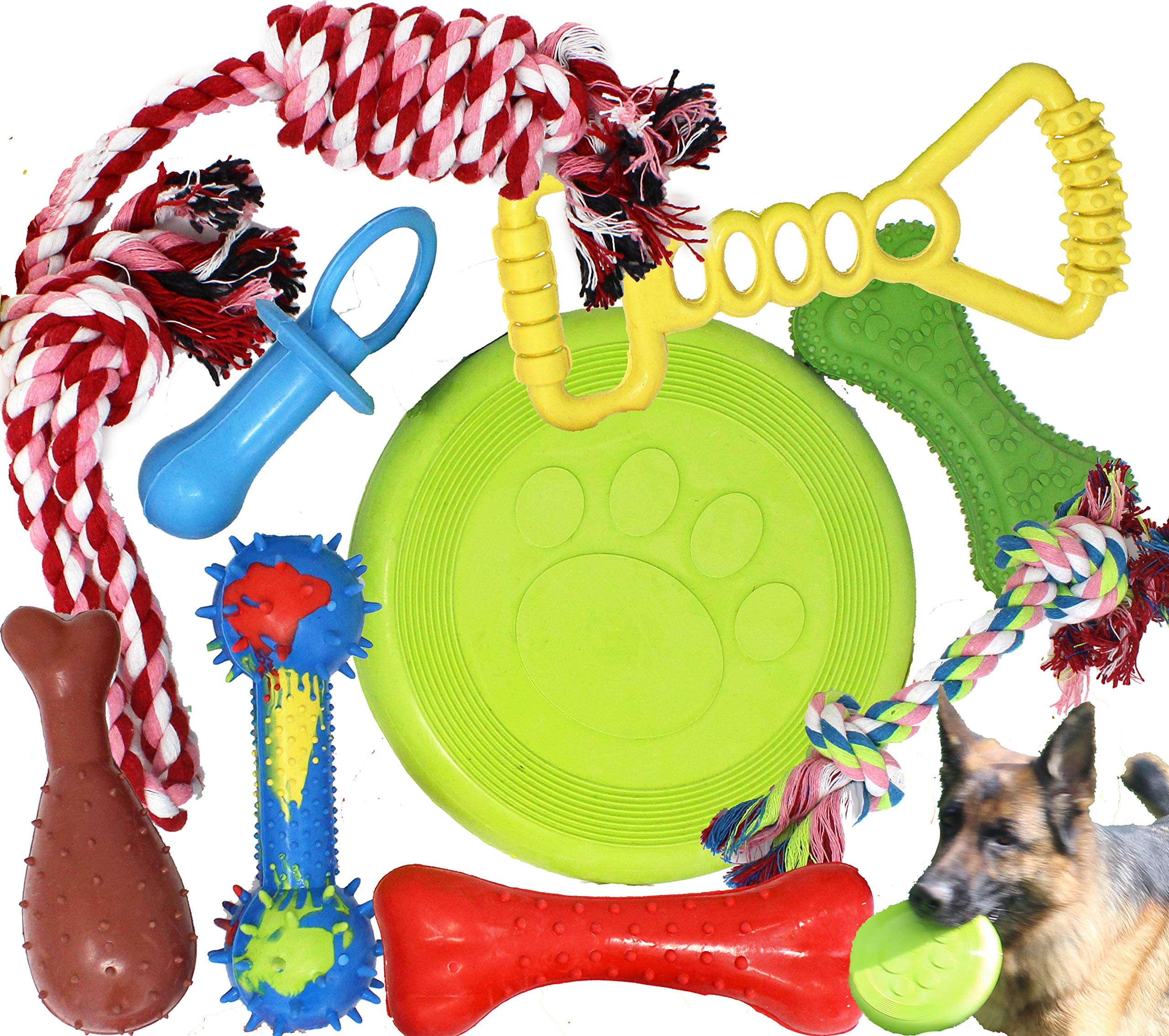 Jalousie Chew Toy Natural Rubber chew Toy for Interactive Play Toy Ball Rope Rubber Value Set for Small to Medium Breed Dog mutt Puppy by Jalousie
