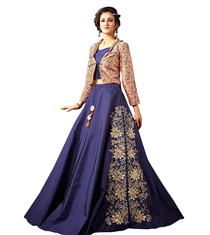 THREADS OF INDIA Fancy Blue Indo-western - Traje de seda, color ...