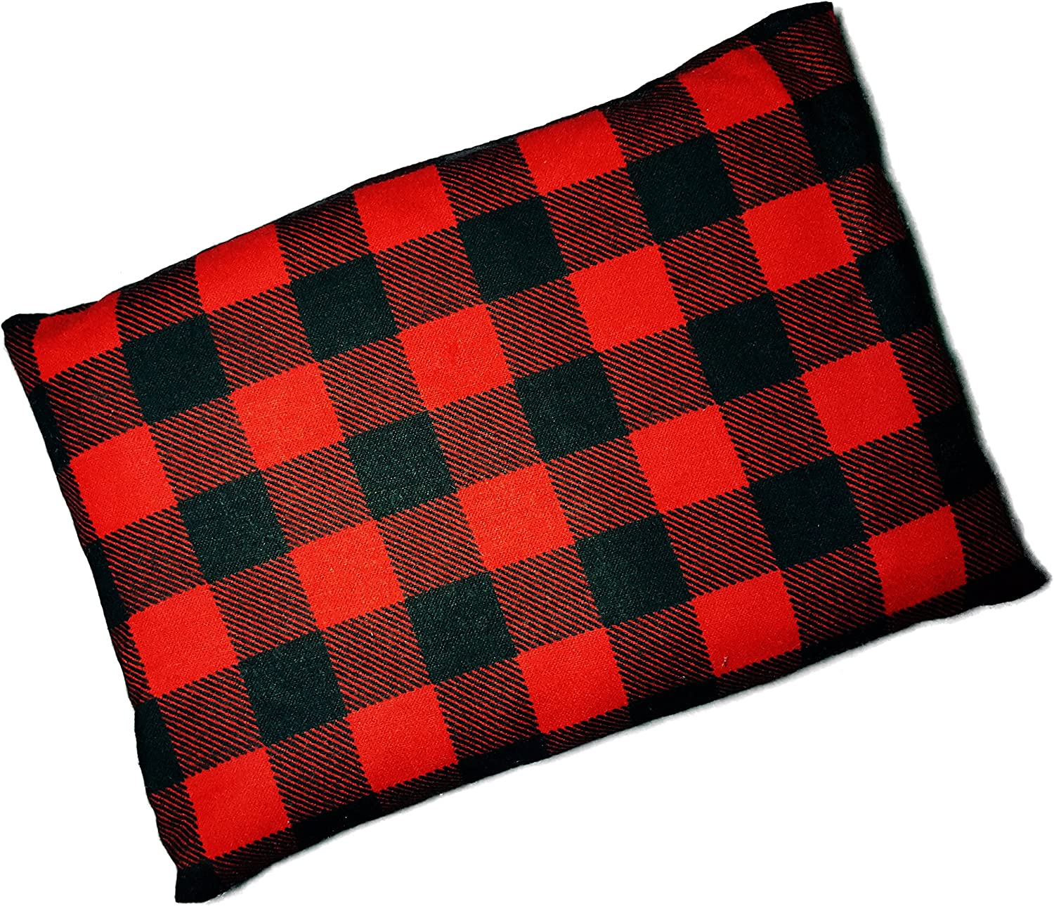 "Microwavable Corn Filled Heating Pad and Cold Pack/Washable 100% Cotton Cover (7.5""Wx11""L, Lumberjack Red)"