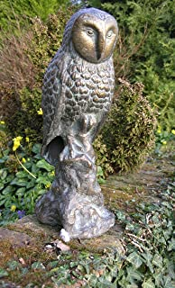 Large Owl on Branch Garden Statue Sculpture Cast Iron with Aged Bronze Finish